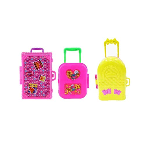 asdfwe 3pcs Mini Plastic Suitcase Luggage Play Miniature Dollhouse Toys Travel Girl Accessory Toys for Children Kids Gift