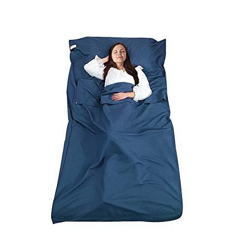 DUTISON Hüttenschlafsack Schlafsack Reiseschlafsack mit Tragetasche Ideal für Hostels, Berghütten und Jugendherbergen Camping Outdooraktivitäte usw (Blau)