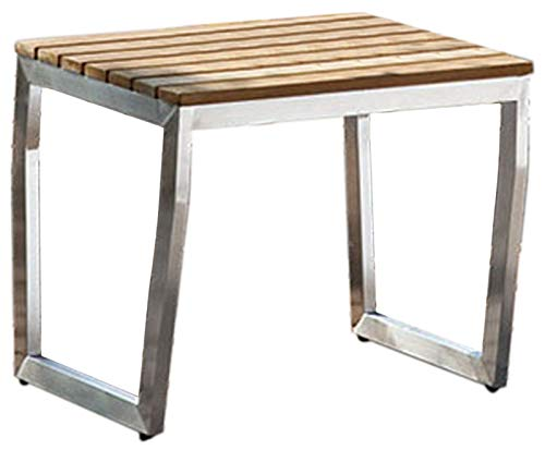 Jet-Line Apollon Bijzettafel, acaciahout, roestvrij staal, tuinmeubelen, terras, balkon, kleine tafel, roestvrij staal, acacia