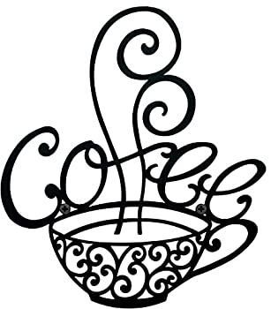 COLIBYOU Coffee Scroll Metal Cup Wall Art Kitchen Restaurant Vintage Coffee Shop Decor Kitchen Wall Decor Metal Wall Art Kitchen Decorations Wall Coffee Decor Coffee Signs For Coffee Bar