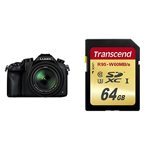 Panasonic LUMIX DMC-FZ1000G9 Premium-Bridgekamera (20,1 Megapixel, 16x Opt. Zoom, Opt. Bildstabilisator) schwarz & Transcend SDXC UHS-I U3 64GB Speicherkarte (95 MB/s Lesen, 60MB/s Schreiben)
