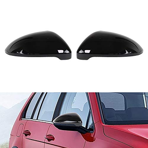 AUFER Cubierta de la carcasa del espejo retrovisor negro brillante Tapa de la cubierta del espejo retrovisor lateral Compatible para Golf 7 MK7 MK7.5 R GTI GTE GTD VII Touran 2014-2018