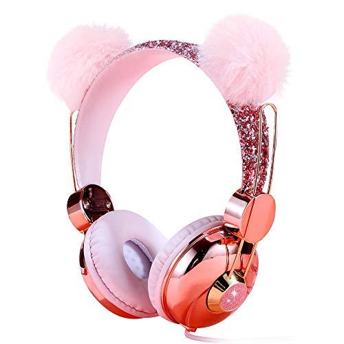 Kinder-Kopfhörer, verkabelt, 85 dB, Lautstärkeregler, Kopfhörer für Kinder, Mädchen, Kinder, Jugendliche, Schule, rosa Plüschbär-Ohr, glitzerndes Kopfband, Anime-Kopfhörer mit Mikrofon