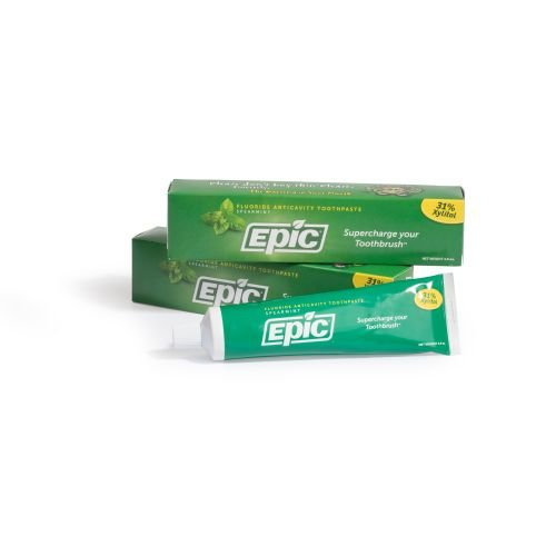 Epic Dental 31% Xylitol Toothpaste, Spearmint, 4.9 Ounce (Pack of 2)