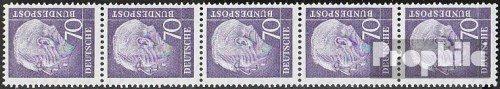 RFA (FR.Allemagne) mer.-no.: 263x v r Bande de Cinq strié Gommage 1956 heuss (Timbres pour Les collectionneurs)