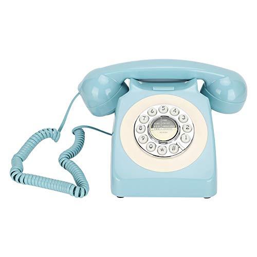 Teléfono Fijo Retro, teléfono Antiguo clásico clásico con Multifuncional con Sistema Dual FSK/DTMF, teléfono de Escritorio para Oficina en casa