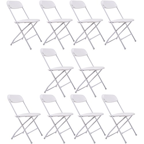 Sandinrayli 10 PCs White Plastic Folding Chairs Commercial Quality Stackable Outdoor Event Wedding Party Chairs