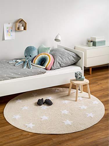Benuta Kinderteppich Bambini Stars Durchmesser 150 cm Rund, Baumwolle, Beige, 150 x 150 x 2 cm