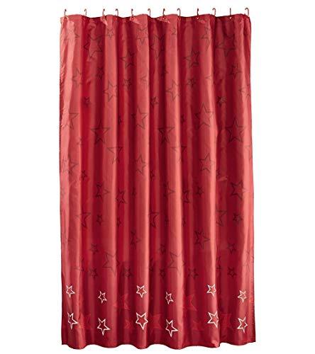 miomare Duschvorhang Vorhang Dusche Badezimmer 180 x 200 cm - Rot Sterne