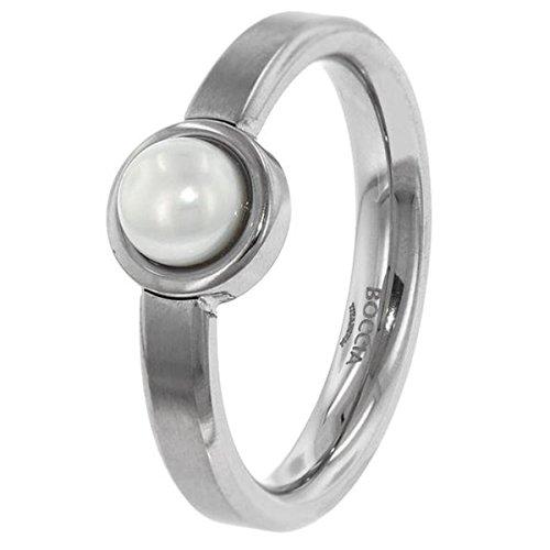 Boccia Unisex-Ring Titan Perle Süßwasser-Zuchtperle Weiß Gr. 50 (15.9) - 0137-0150