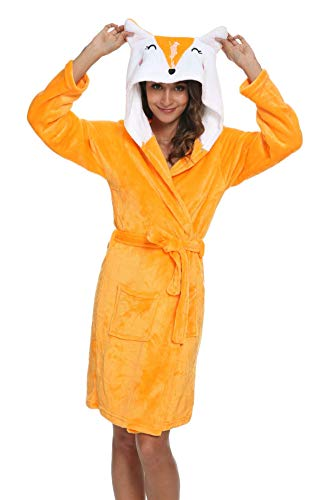 XVOVX Unisex Adult Robe Soft Flannel Hooded Nightgown Animal Bathrobe Bathing Suits for Women Girls