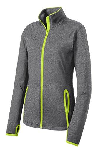 Joe's USA Ladies All Sport Wicking Stretch Contrast Full-Zip Jacket-Green-M