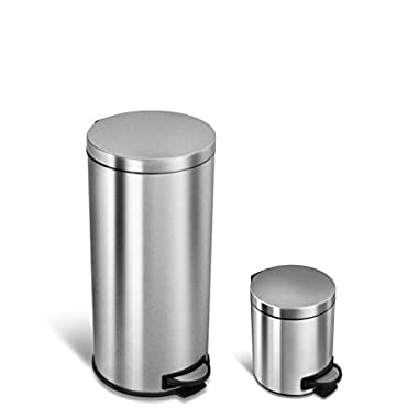 Ninestars CB-Sot-30-1 Step-on Round Trash Can Combo Set, 8 Gal. 30 L 1 Gal. 5 L, Stainless Steel
