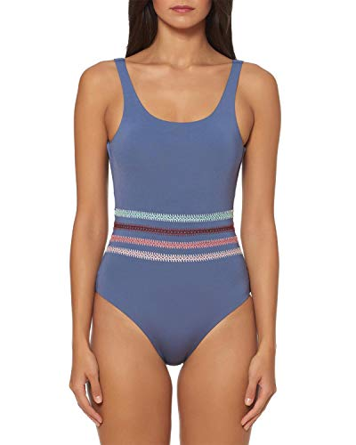 Dolce Vita Women's Embroidered Over The Shoulder One Piece Swimsuit Pigeon M