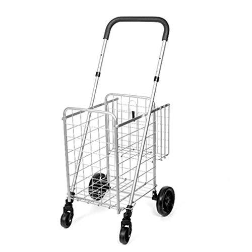 HAOSHUAI Carrito de la compra de la compra de la tienda de comestibles, carro plegable, carro de ancianos, camión de doble cesta del hogar, C (color: C1)