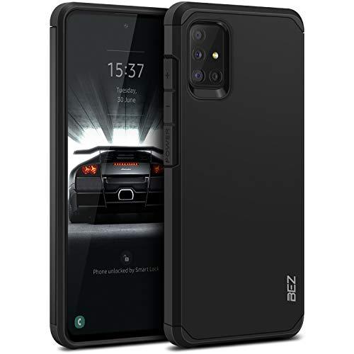 BEZ Hülle für Samsung Galaxy A51 Hülle, Handyhülle Tasche Stoßfestes Kompatibel für Samsung A51, [Heavy Duty Serie] Outdoor Dual Layer Armor Case Handy Schutzhülle Robuste, Schwarz
