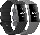 EUCARLOS 2 Pack Replacement Bands for Fitbit Charge 4 / Fitbit Charge 3 / Fitbit Charge 3 SE, Classic Soft Sports Wristbands Waterproof Fitness Watch Strap for Women Men (Small, Black/Gray)