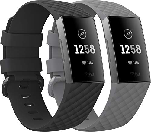 EUCARLOS 2 Pack Replacement Bands for Fitbit Charge 4 / Fitbit Charge 3 / Fitbit Charge 3 SE, Classic Soft Sports Wristbands Waterproof Fitness Watch Strap for Women Men (Large, Black/Gray)