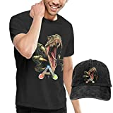 Welikee Camiseta, Manga Corta, Ark-Survival Evolved Logo Men's Comfortable tee and Dicer Combination Black