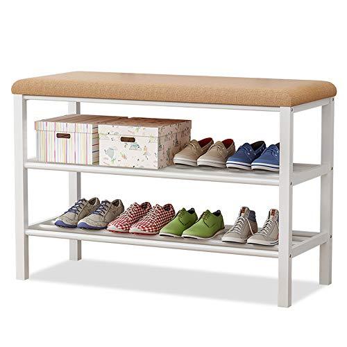 IBEQUEM Banco zapatero de acero inoxidable con cojín de esponja, banco para zapatos de 2 niveles, con asiento, zapatero, pasillo, 80 x 50 x 30 cm, color café