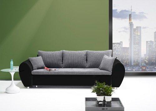 lifestyle4living Big Sofa in grau mit schwarzem Kunstleder, XXL-Sofa mit Schlaffunktion und Bettkasten, Schlafcouch inkl. Rücken- und Zierkissen