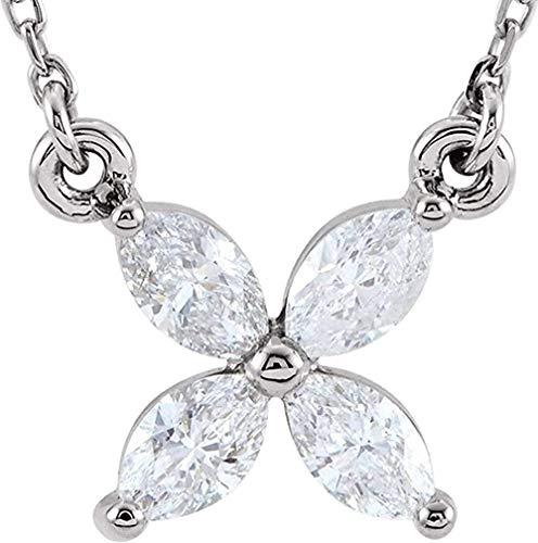 LKLFC Collar de Cadena Colgante Collar Mujeres Hombres Collar 14k Oro Blanco 4 Piedra Diamante racimo Colgante Collar 16 Regalo