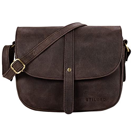 STILORD 'Kira' Umhängetasche Frauen Leder Vintage kleine Handtasche zum Ausgehen Klassische Abendtasche Partytasche Freizeittasche Echtleder, Farbe:Muskat - braun