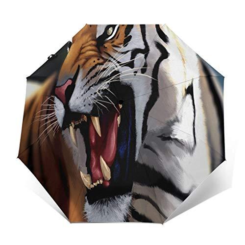 TISAGUER Paraguas automático de Apertura/Cierre,Pintura al óleo artística Pintada a Mano,Un Tigre rugiente,Paraguas pequeño Plegable a Prueba de Viento