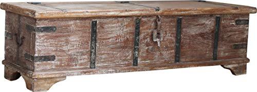 Guru-Shop Vintage Holzbox,Holztruhe im Kolonialstil, Couchtisch, Kaffetisch aus Massivholz - Modell 52, Braun, Teakholzrecycelt, 40x142x40 cm, Truhen, Kisten, Koffer