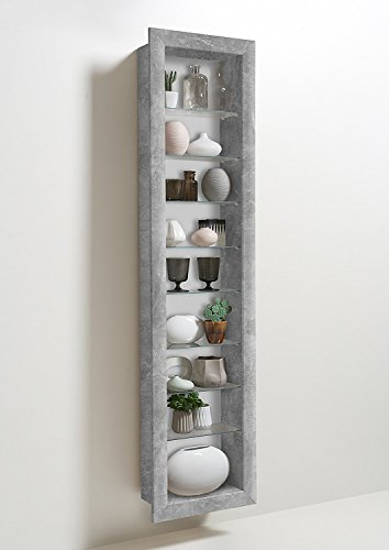 moebel-dich-auf Vitrine Sammlervitrine Hängevitrine mit 8 Glaseinlegeböden in Beton