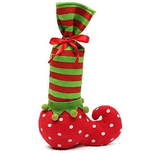 Botella Navidad Elf Candy Bag Santa Que Almacena Elf Pata De La Mesa Cubierta Vino Wrap Punto Calcetines De Rayas Candy Bag