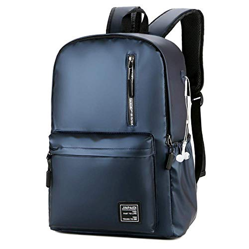 SHRAY Casual Backpack,with Headphone Jack 15.6-inch Laptop and Notebook Backpack, Water-Repellent Rucksack for Women, Men Students Daypack for Business/Travel/Black Blue