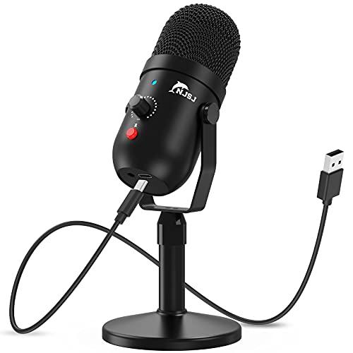 NJSJ Micrófono PC USB Condensador grabación micrófono con Silencio y Eco para Ordenador portátil, Mac Phone Studio,Transmisión de transmisión Juego Plug'n Play en PC Mac,Streaming,Podcasting
