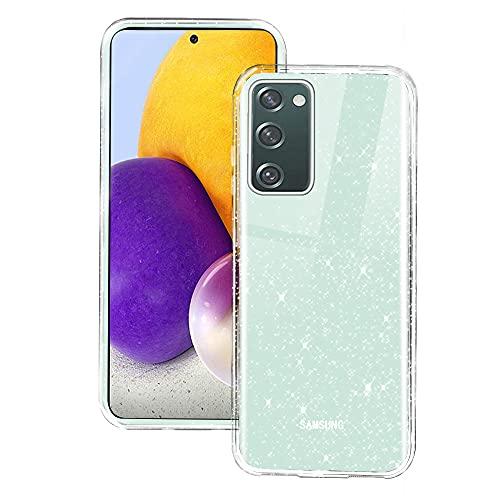 Glitter Funda Compatible con Samsung Galaxy S20 FE 5G / 4G, Crystal Glitter Brillante Carcasa Transparente Silicone Slim Cubierta Protectora Fina Purpurina TPU Suave Flexible Case para Teléfono Móvil