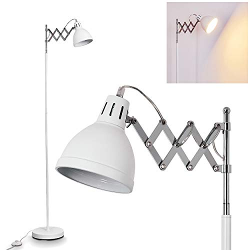 Staande lamp Saksisch, vintage metalen vloerlamp in wit/chroom, lampenkap Ø 14 cm, E27 stopcontact, max. 28 watt, verstelbare vloerlamp in retrodesign, geschikt voor LED-lampen