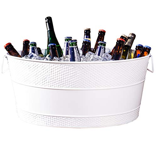 BREKX Aspen Insulated Galvanized White Metal Ice and Drink Bucket, Beverage Tub for Parties, 25-Quart