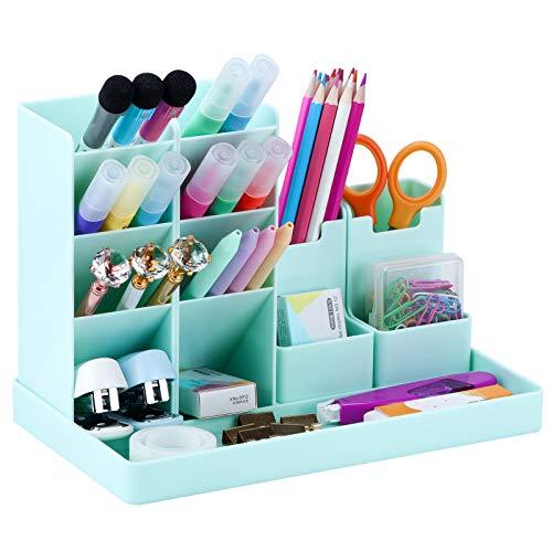 POPRUN Multifunktionaler Schreibtisch Organizer,Stiftehalter für Kinder,Stifte Aufbewahrungsbox für Schule,Büro und Zuhause aus Plastik Grün