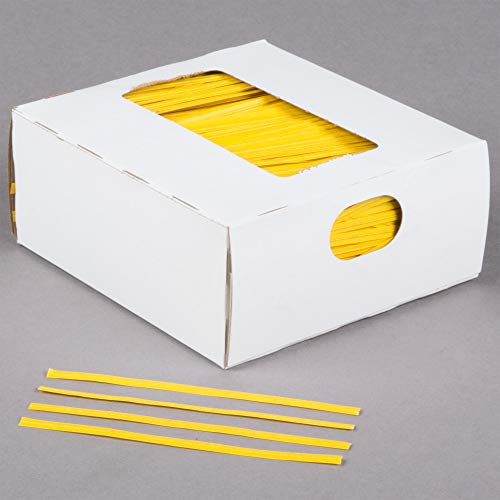 Oasis Supply, 2000 Piece 4' Laminated Paper Twist Ties, BULK with Dispenser Box (YELLOW)