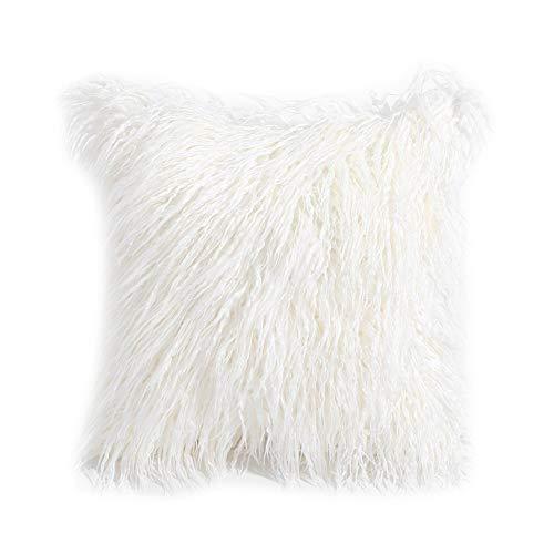 FINIVE 45x45cm Plush Throw Pillowcase Furry Pillow Cover Cushion Case Home Bed Room Sofa Decor White