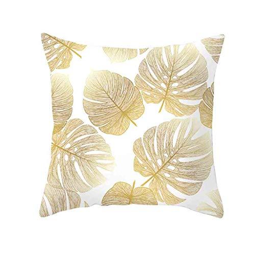 TWIFER Gold Pflanze Gedruckt Polyester Kissenbezug Cover Sofa Kissenhüllen Home Decor (D,45cm x 45cm)