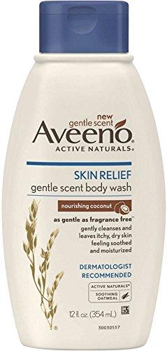 AVEENO Active Naturals Skin Relief Gentle Scent Body Wash, Nourishing Coconut 12 oz (4 Pack)