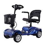 MUYU Voiture Electrique Senior Pliable 4 Roues Scooter Électrique Senior Scooter Handicapé Poids Max.120Kg,Bleu
