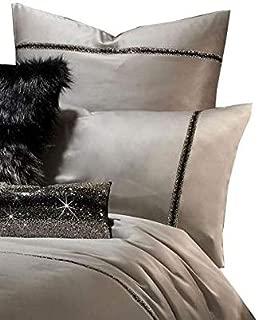 2 x Kylie Minogue Messina Mist Grey Diamante Satin 200TC Housewife Pillowcases
