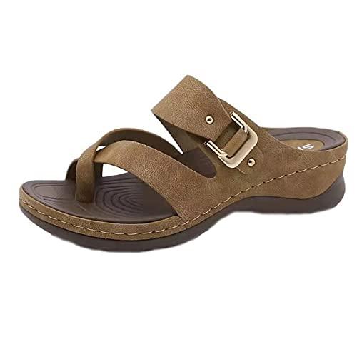 Sandalias Chanclas Mujer Verano Nuevo 2021 Moda Casual Elegante Roman Zapatos de plataforma Cuña Zapatillas Playa Sandalias de Punta Abierta Fiesta Tacones Altos Sandalias