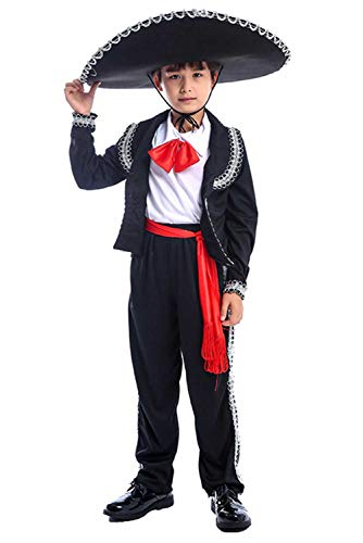 Halloween Kids Boys Mexican Mariachi Amigo Costume Theme Party Cosplay Outfit Uniform 3-14 Years (M/8-10years, Black)