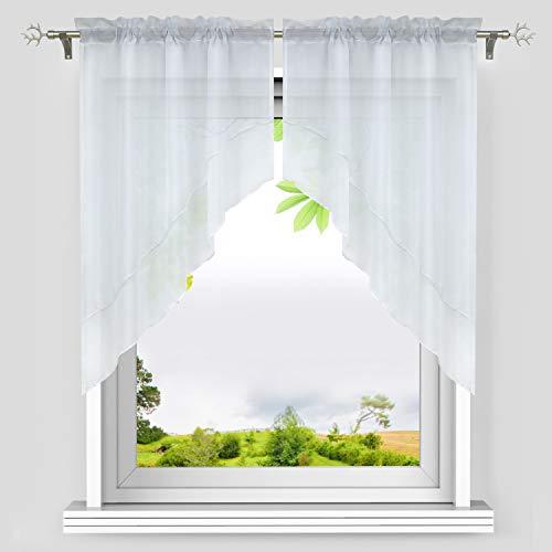 Heichkell Voile Scheibengardine Bogen Set 2-Teilige Kleinfenster Vorhang Tunnelzug Kurzstores Doppelschichtige Küchengardinen Weiß BxH 90x100 cm (Jedes Stück)