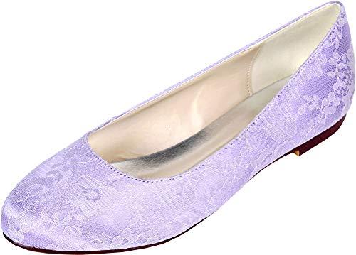 Damas punta redonda comodidad plana D-Orsay vestido boda OL novia corte zapatos...