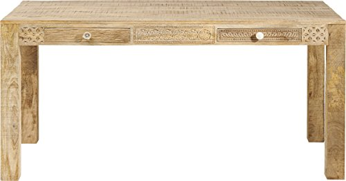 Kare Design Tisch Puro, Esszimmertisch verziert mit handgeschnitzten Ornamenten, moderner Esstisch aus hochwertigem Mango Echtholz mit liebevollen Details, (H/B/T) 76 x 140 x 70 cm, Holz, Natur