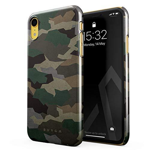BURGA Hülle Kompatibel mit iPhone Xr Handy Huelle Tropical Military Armee Grün Camo Camouflage Tarnung Dünn, Robuste Rückschale aus Kunststoff Handyhülle Schutz Case Cover