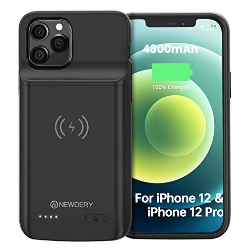 "NEWDERY Battery Case for iPhone 12/12 Pro 6.1"", 4800mAh Portable Protective Backup Qi Wireless Charging Case for iPhone 12/12 Pro, Rechargeable Extended Battery Pack Charger Case"